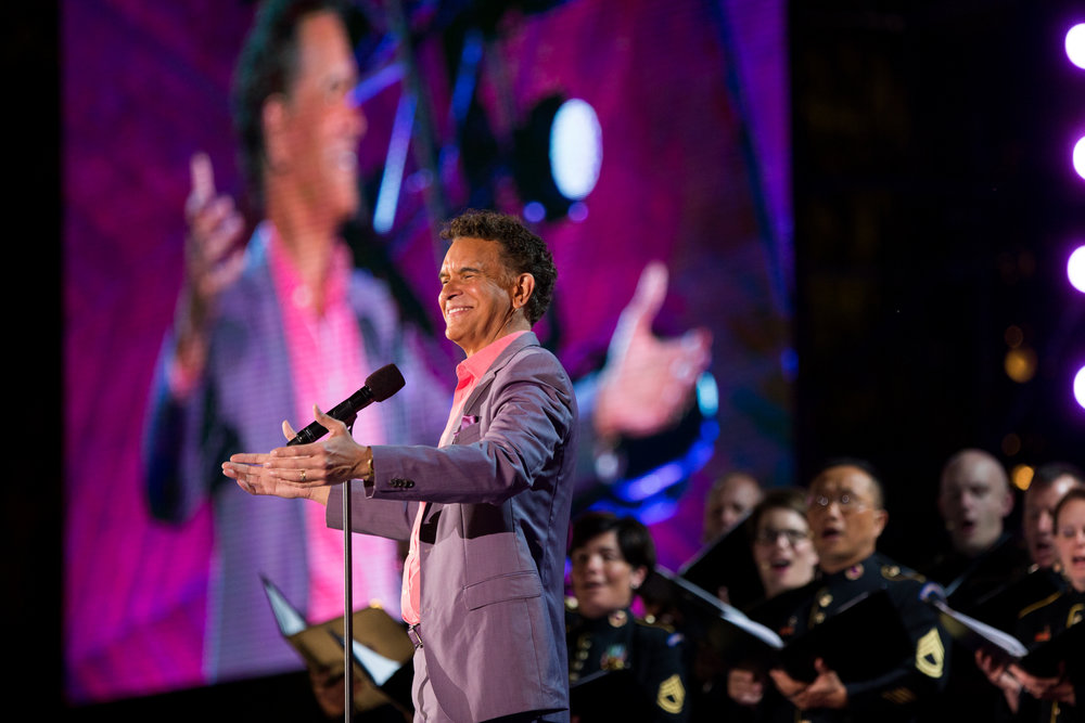 Boston, MA - 7/4/17 - Brian Stokes Mitchell performs the Sum of Us, its world premiere during the Fourth of July Pops celebration on the Esplanade on Tuesday, July 4, 2017. (Nicholas Pfosi for The Boston Globe) Topic: 05IndepenceDaypic