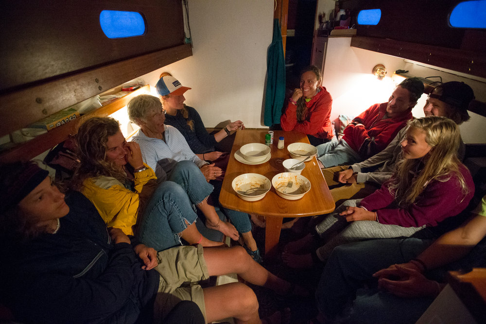 Brooklin, ME - 8/4/17 - The Conover family plays spoons together the night before the race on Sinbad in Brooklin on Friday, August 4, 2017. The Conover clan has come together for years to race in the Eggemoggin Reach Regatta. (Nicholas Pfosi for The Boston Globe) Reporter: Bethany Ao Topic: woodenboatEmma Conover, 23; tall, skinny, often wear hatsEthan Andrus, 15; Jen's son, long hair, often has headband, biked downJen Conover; mother, biked downLydia Morin, 20; niece of Jen, biked down, has straw hat on SinbadDee Dee Conover, 82; 82 years oldElli Andrus, 12; Ethan's sister; youngest, blonde hairSimon Morin, 18; Lydia's brother, longer hair, tallCedar Andrus; not a lot of photos of him, blonde hair, shorterWill Conover, 21; tallest, Peace Corps guy, curly hair