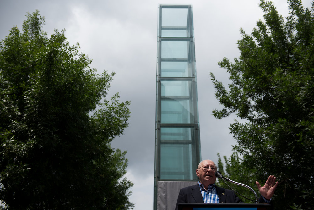 Boston, MA - 7/11/17 - Izzy Arbeiter, a Holocaust survivor, addresses the crowd and press during the rededication ceremony of the New England Holocaust Memorial on Tuesday, July 11, 2017. Several weeks ago the memorial was vandalized, allegedly by James Isaac, who is being prosecuted for the crime, and this ceremony was the official unveiling of the replacement pane of glass. (Nicholas Pfosi for The Boston Globe) Reporter: Sara Salinas Topic: 12holocaustpic