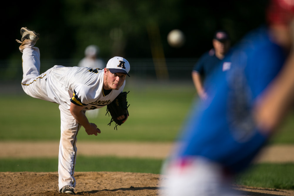 Andover, MA - 7/15/17 - Cedric Gillette pitches during the second inning of Andover High School baseball team's 2-1 victory against Natick in a playoff game held at Andover High School on Saturday, July 15, 2017. (Nicholas Pfosi for The Boston Globe) Reporter: Tom Petrini Topic: 23legion(2)