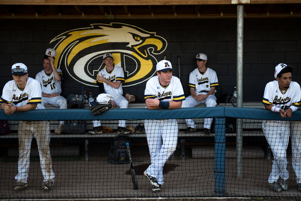 Andover, MA - 7/15/17 - Center, first baseman, Mike Comeau, looks out over the field before Andover High School baseball team's 2-1 victory against Natick in a playoff game held at Andover High School on Saturday, July 15, 2017. (Nicholas Pfosi for The Boston Globe) Reporter: Tom Petrini Topic: 23legion(2)