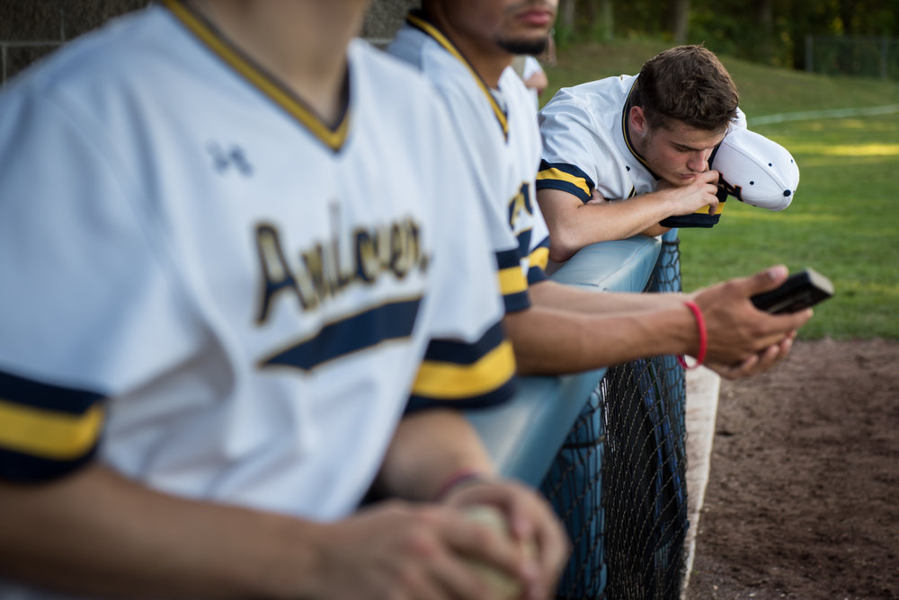 Andover, MA - 7/15/17 - Pitcher Cedric Gillette thinks off to himself after he gave up his first earned run of the season during the first half of the fifth inning of Andover High School baseball team's 2-1 victory against Natick in a playoff game held at Andover High School on Saturday, July 15, 2017. (Nicholas Pfosi for The Boston Globe) Reporter: Tom Petrini Topic: 23legion(2)
