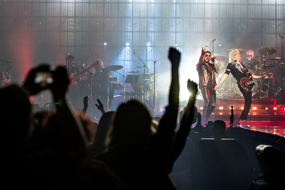 Boston, MA - 7/25/17 - Fans cheers while Adam Lambert, first from left, guitarist, Brian May, center, and drummer Roger Taylor, right, perform during the Queen and Adam Lambert team-up performance at TD Garden on Tuesday, July 25, 2017. The trio first performed together on American Idol in 2009 and began touring in 2014. (Nicholas Pfosi for The Boston Globe) Topic: 27QueenGuitarist Brian May, drummer Roger Taylor, and singer Adam Lambert.
