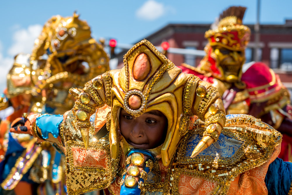 Boston, MA - 8/13/17 - The Warriors Carnaval Vegano during the Dominican Parade down Centre St on Sunday, August 13, 2017. (Nicholas Pfosi for The Boston Globe) Topic: 14parade(2)