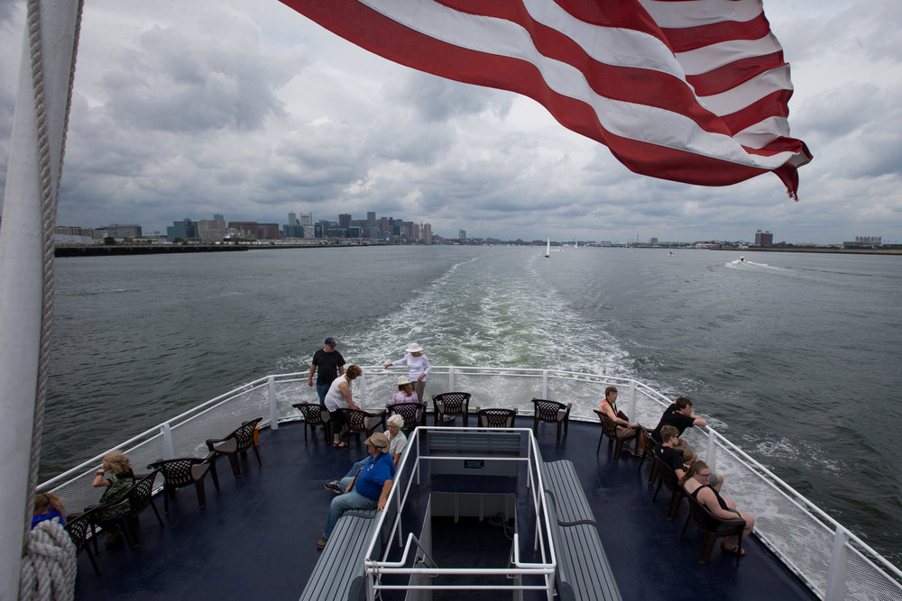 Boston, MA - 8/15/17 - The Boston skyline from the ferry to George's Island on Tuesday, August 15, 2017. (Nicholas Pfosi for The Boston Globe)