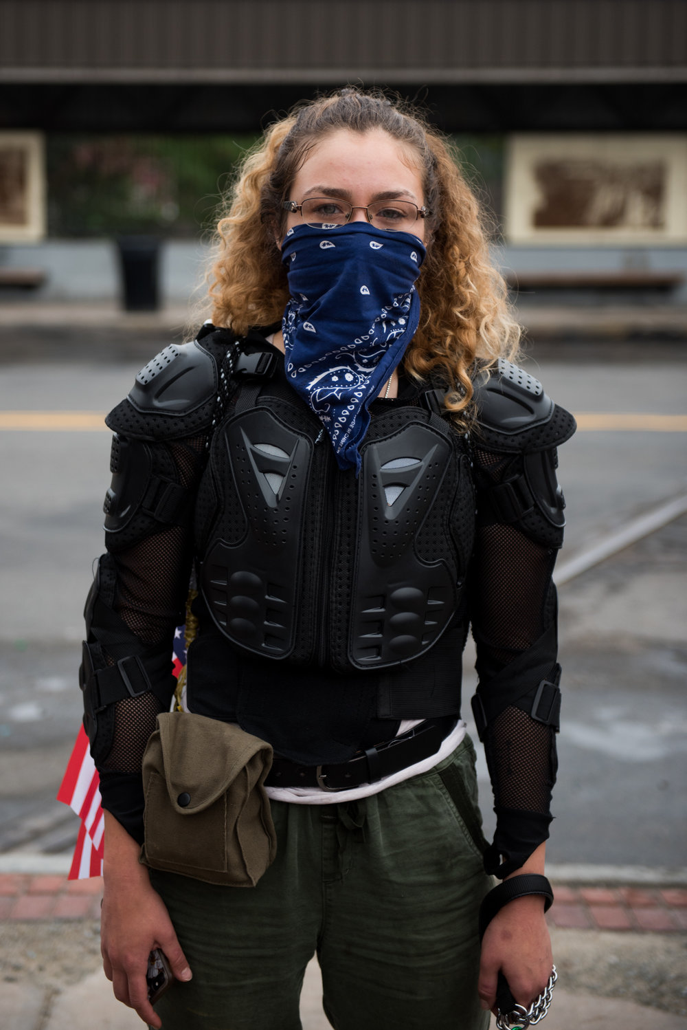 Boston, MA - 8/19/17 - Aylin who declined to give her last name poses for a portrait before a march from Roxbury to the Boston Common as part of a counter-protest to a free speech rally being held there on Saturday, August 19, 2017. This day's protest occurred as part of the ongoing national outrage after protests in Charlottesville, Virginia turned deadly last weekend, primarily in opposition to what's seen as a rise in prominence and visibility of white supremacists and Neo-Nazis. (Nicholas Pfosi for The Boston Globe) Topic: 20rally photos (only)