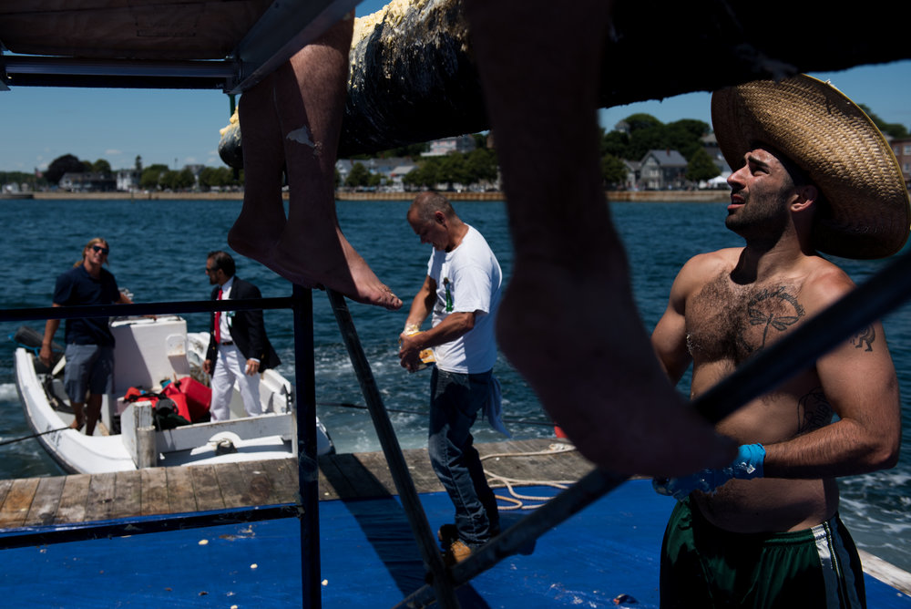 "Gloucester, MA - 6/25/17 - Mike Forgetta, 26, of Gloucester, applies crisco to the greasy pole with the rest of the ""Grease Crew"" during the St. Peter's Fiesta in Gloucester, Mass. on Sunday, June 25, 2017. Each year a select group of men, some novices, others seasoned champions, compete against each other to see who can run across a telephone pole layered in grease and suspended over the sea. This year after one full round, Gloucester resident, Jake Wagner, grabbed the flag, claiming victory. (Nicholas Pfosi for The Boston Globe) 