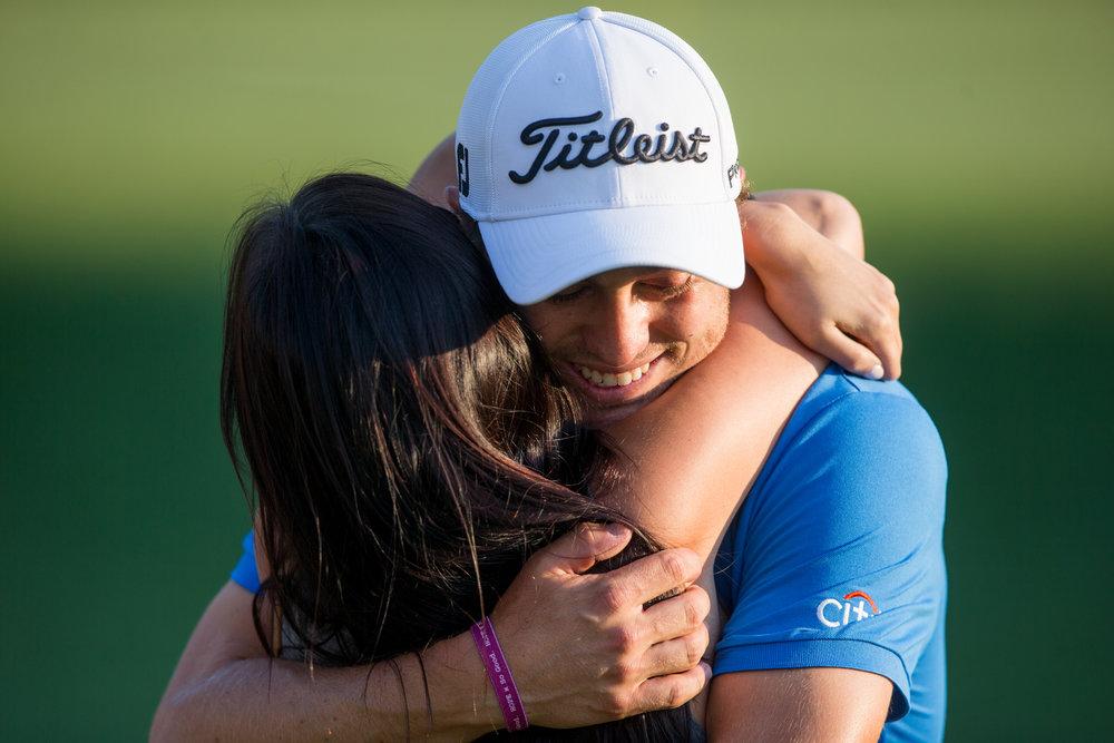 Norton, MA - 9/4/17 - Justin Thomas embraces his girlfriend Jillian Wisniewski after winning the Dell Technologies Championship at the TPC Boston on Sunday, September 4, 2017. (Nicholas Pfosi for The Boston Globe) Topic: Sports