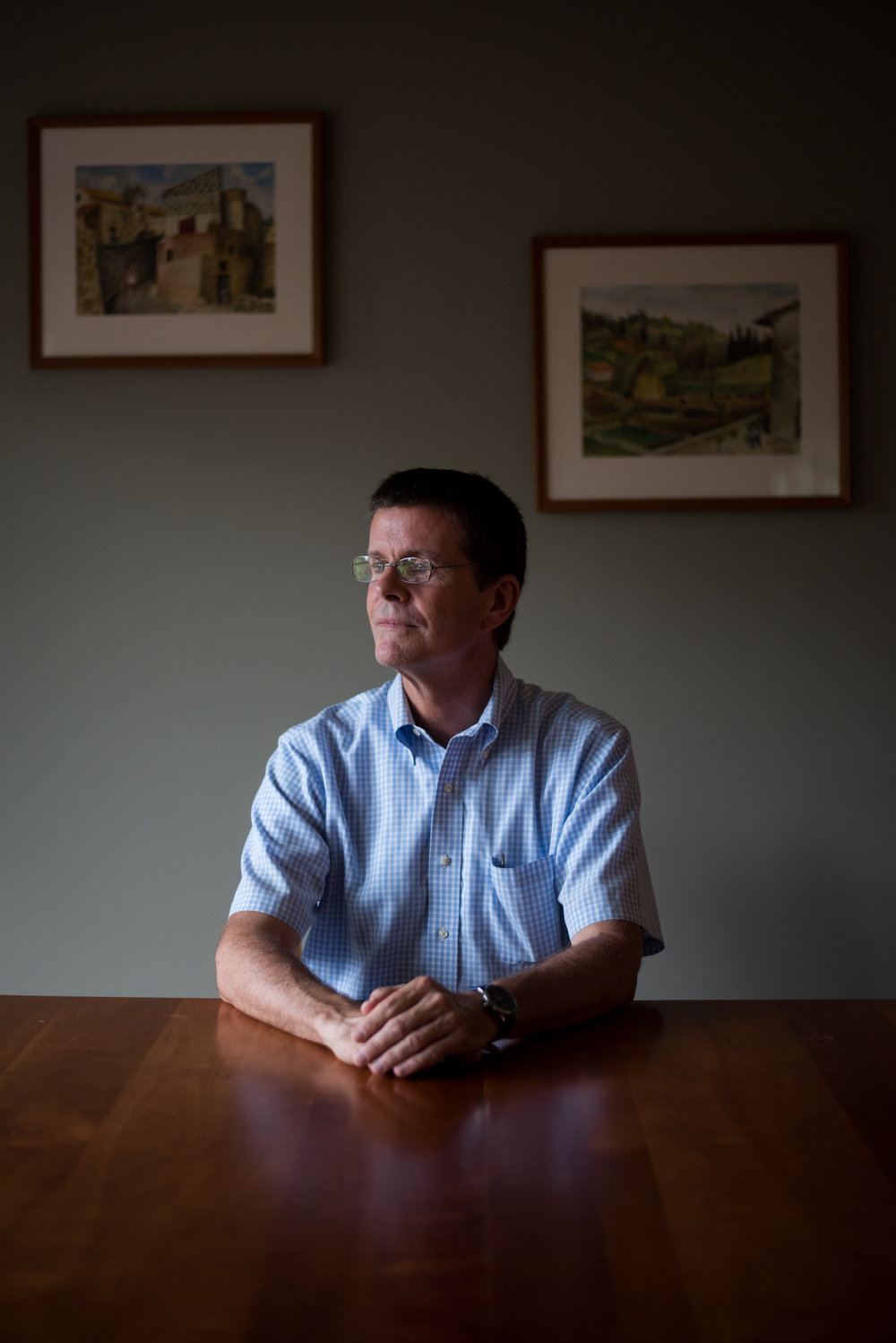 Martha's Vineyard, MA - 8/22/17 - Former CEO of the Martha's Vineyard hospital, Joe Woodin, poses for a portrait on Tuesday, August 22, 2017. Joe Woodin, the hospital's former CEO for only 13 months, was fired without warning by the board chair earlier in the summer and the community has been left with questions and little answers. (Nicholas Pfosi for The Boston Globe) Reporter: Priyanka McCluskey Topic: 24vineyard(2)