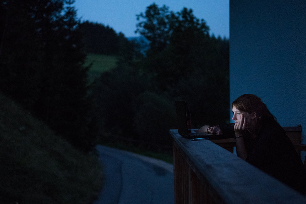 8/30/16 – Inzell, Bavaria – Stefanie works on her laptop at the Fantenberg Gasthof in Inzell, Germany on Tuesday, Aug. 30, 2016. (Photo by Nicholas Pfosi)
