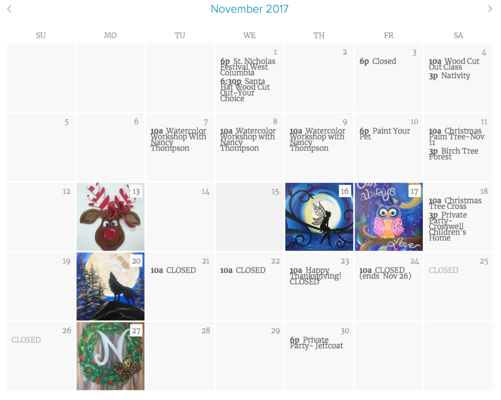 Our calendar makes it easy to find the class you want!