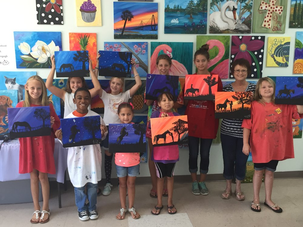 Kid's enjoying one of our favorite Kid's Canvas Classes!