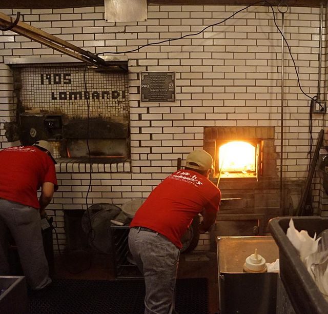 Chef @mikelofaro took us to Lombardi's in #NewYork 's Little Italy, the oldest (only?) coal burning pizza oven in his hometown!