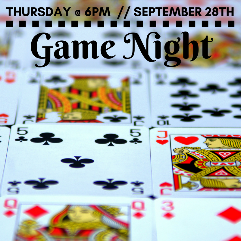 Day 4: 9/28 - Thursday the 28th is game night at Newman! We will be playing card games, board games and video games indoors, and weather permitting, we will have four-square and bump outdoors. Snacks will be provided!More info