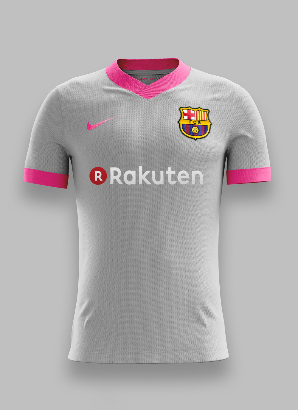 57b5fcd17e1 This season s FC Barcelona third kit colorway uses wolf grey and hyper  pink. The pink gives the kit an explosive look while the grey demonstrates  ...