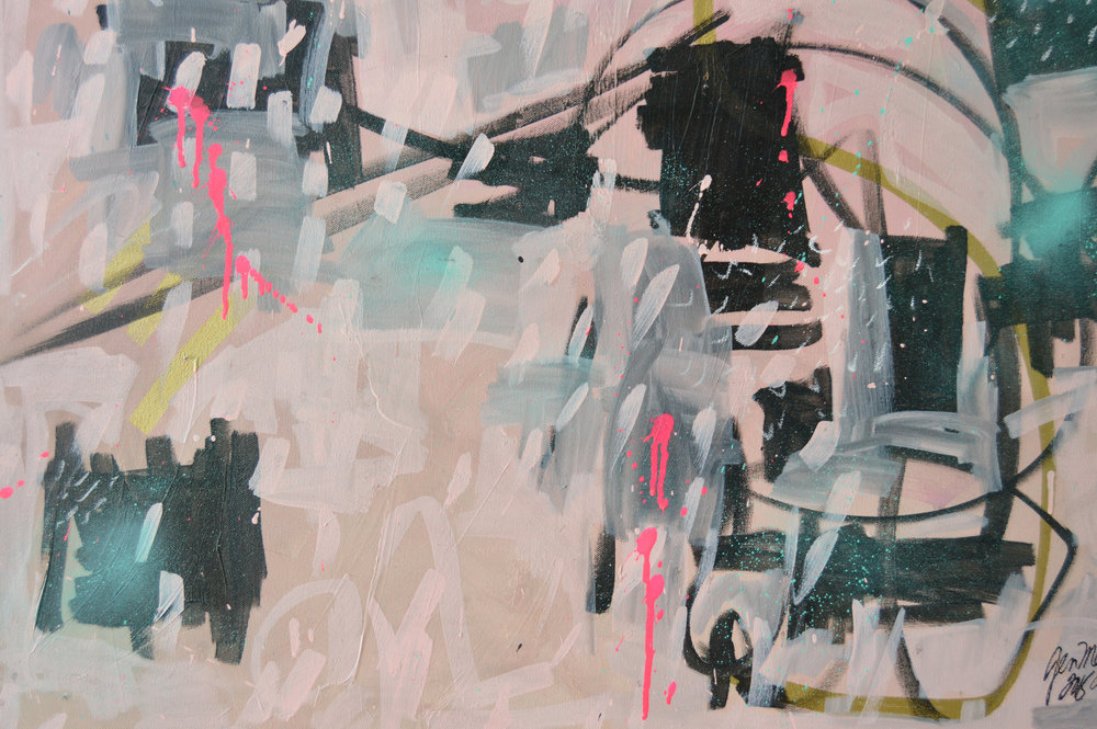 abstractpainting pink and black punk.pink.closeup.jenmeyer.2015.24x30x1.5.jpg