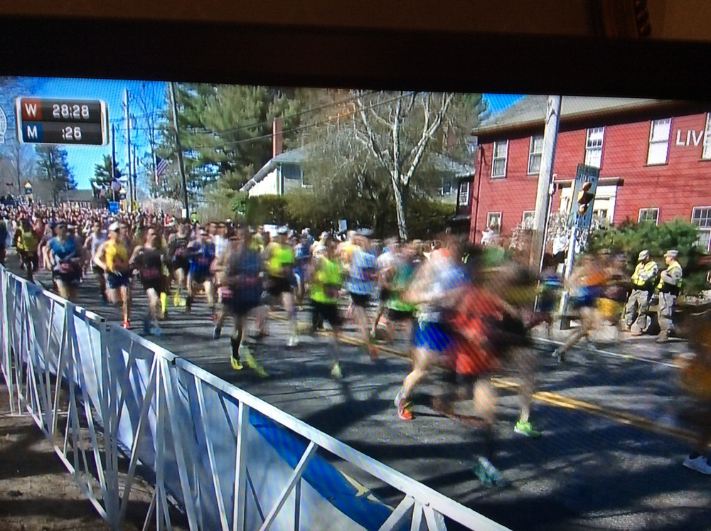 That's me right in the middle in my neon and black. Mom snapped a picture while they were watching on TV!