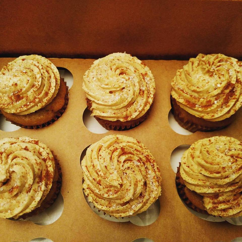 Banana and cinnamon batter cupcakes with a peanut butter, cinnamon, and sea salt frosting!