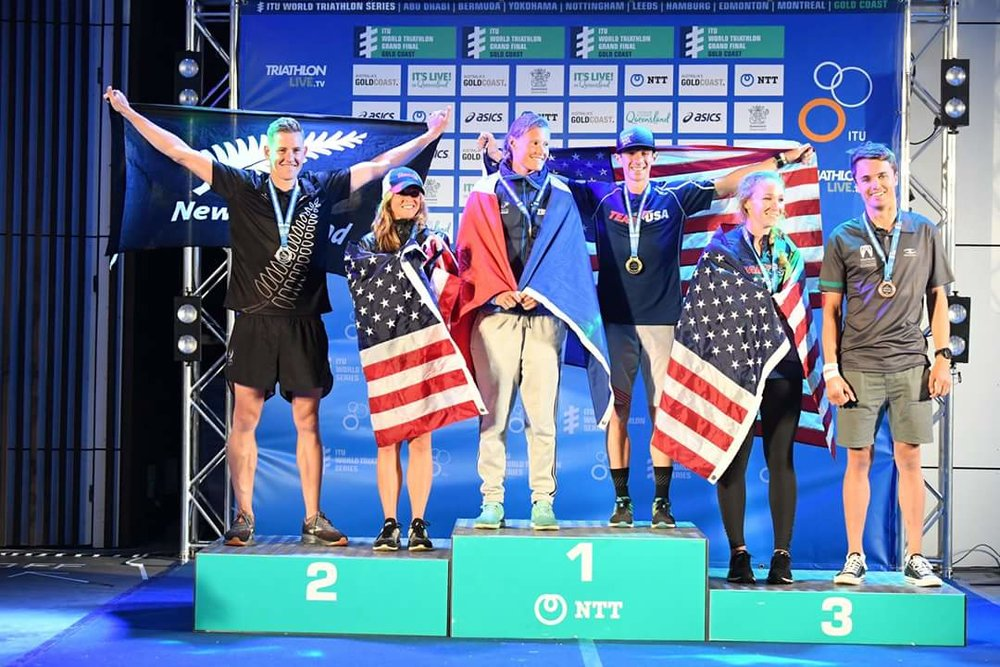 From left to right: Malcolm King (NZL), Gaby Bunten (USA), Kristelle Congi (FRA), Me (USA) :), Rachel Mensch (USA), Troy Ruston (AUS)  And if you think the men's podium looks familiar, that's because it is! Same 1, 2, and 3 in both races!