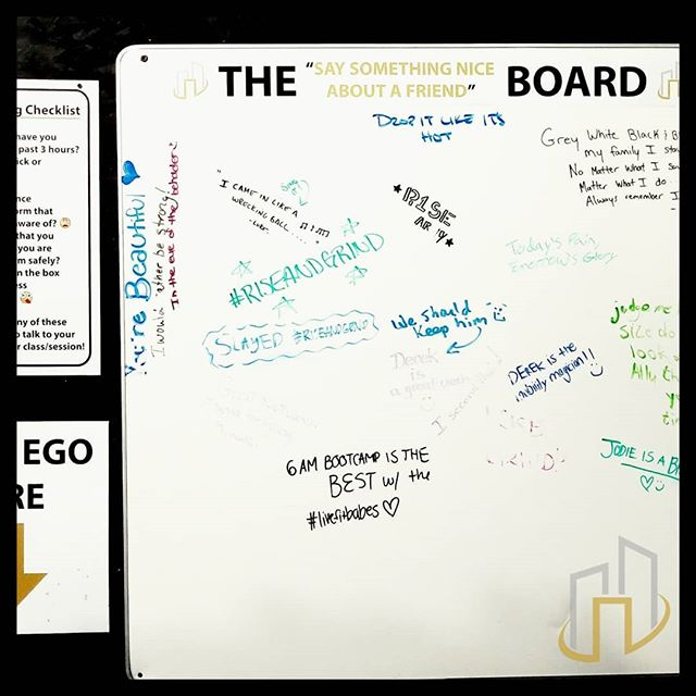 "Next time you come in for your workout, sign the ""Say Something Nice About A Friend"" board 😁! #StrongerTogetherThanAlone #WordsBuildStrength"