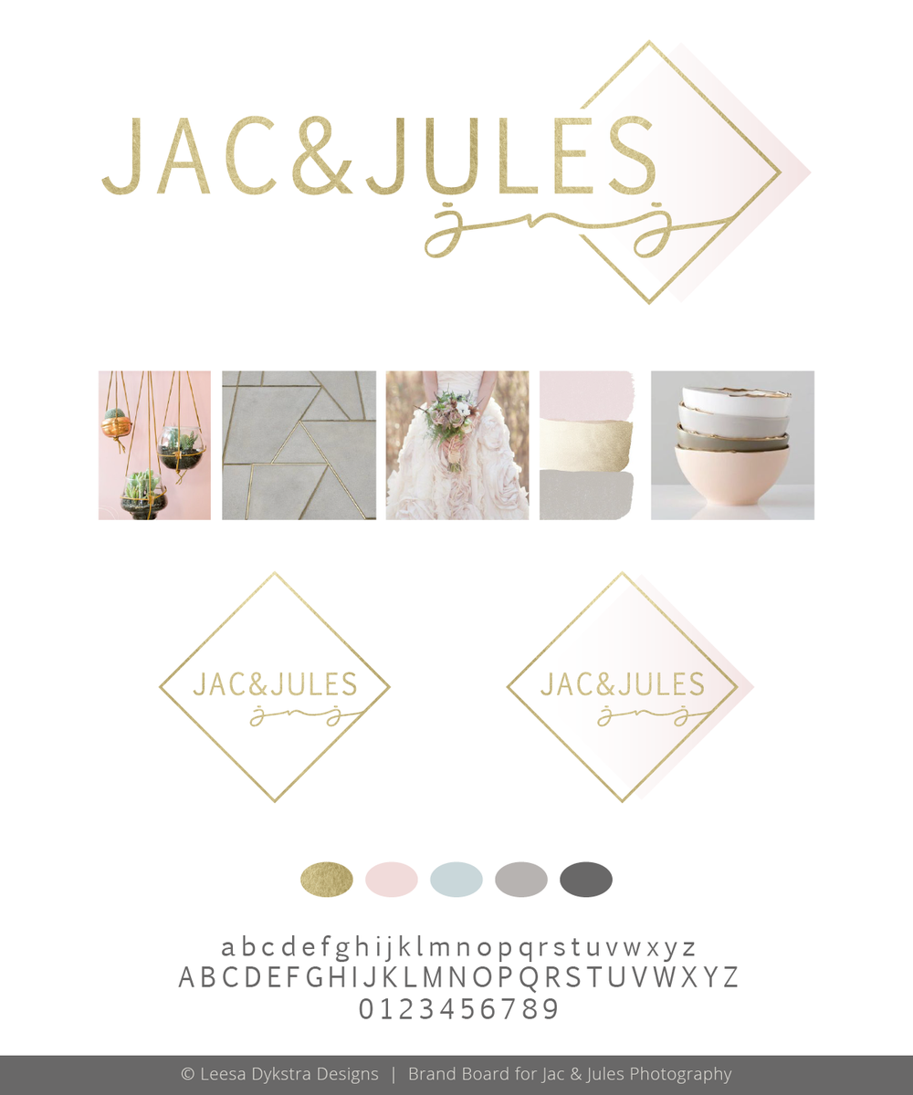 Brand Board Proof for Jac & Jules Photography by Leesa Dykstra Designs