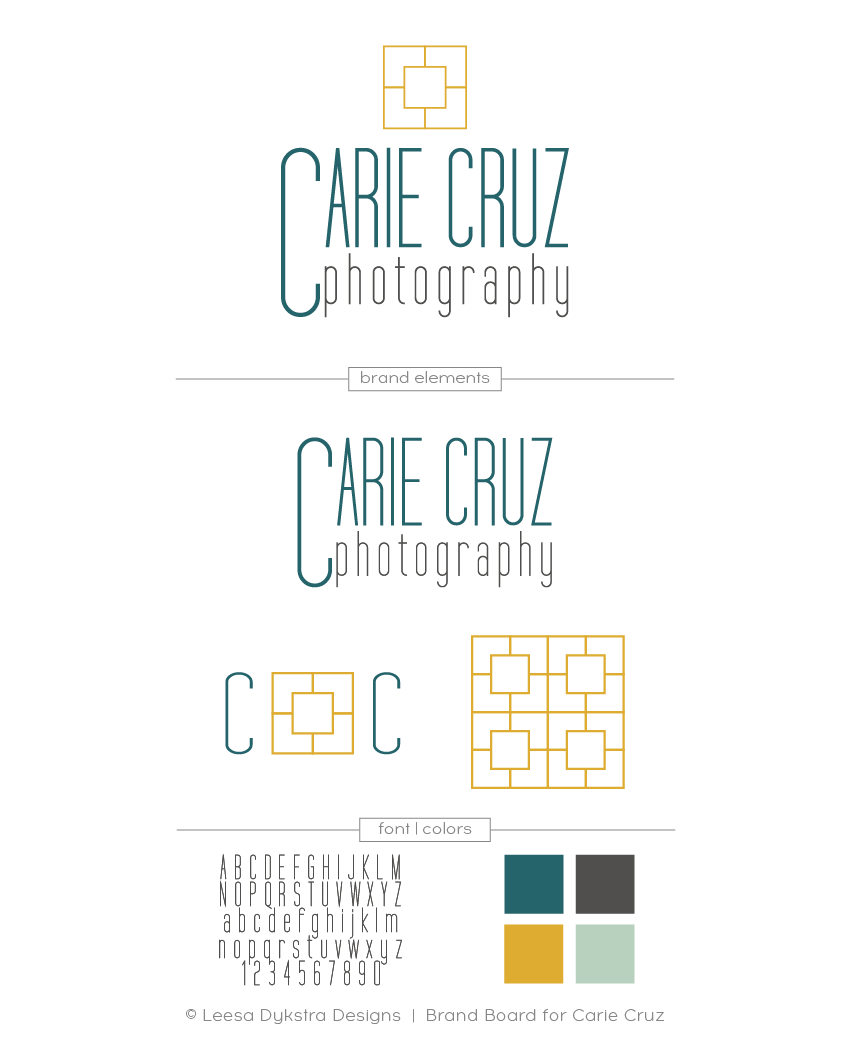 Brand Board for Carie Cruz Photography by Leesa Dykstra Designs