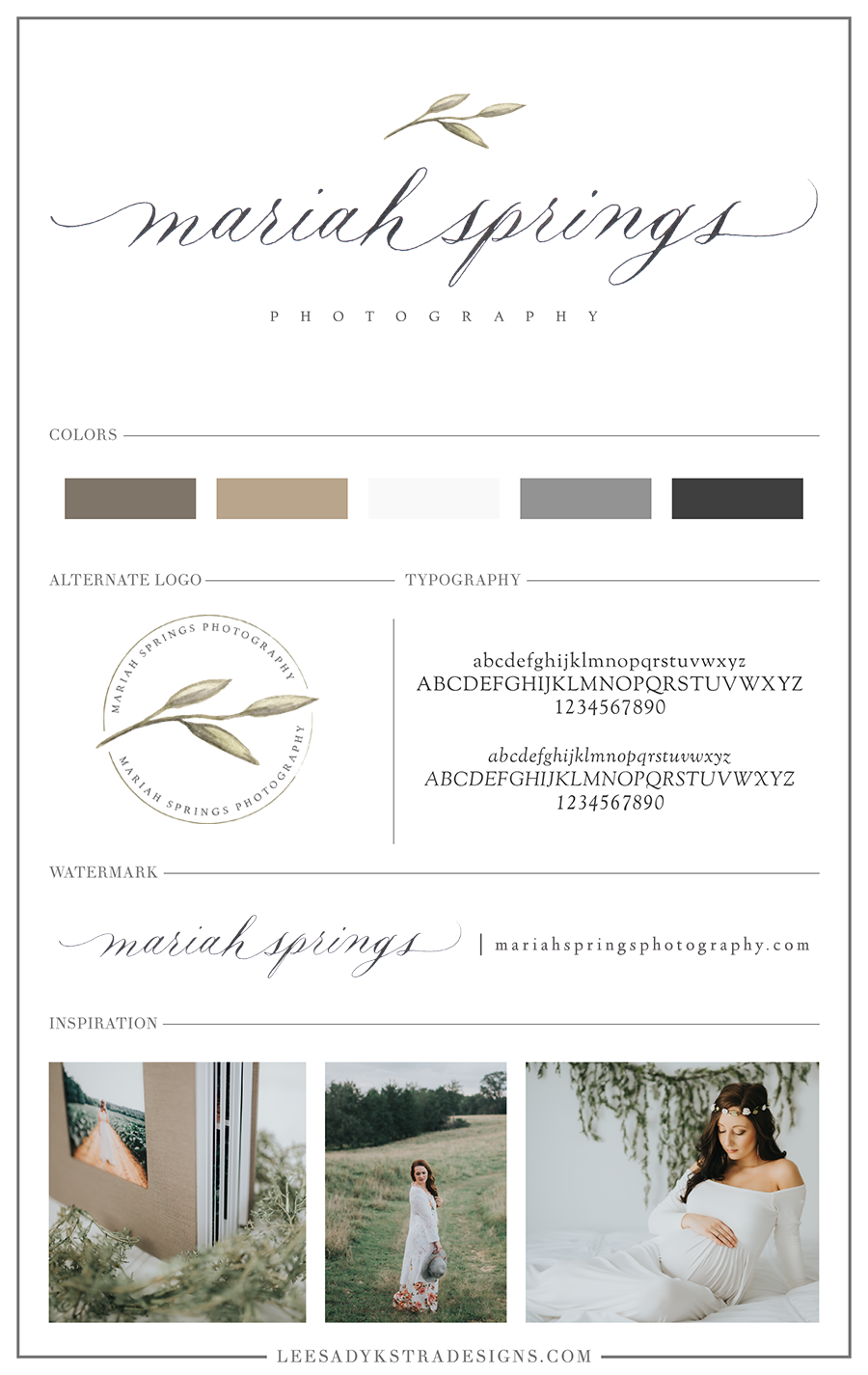 Brand Board for Mariah Springs Photography by Leesa Dykstra Designs