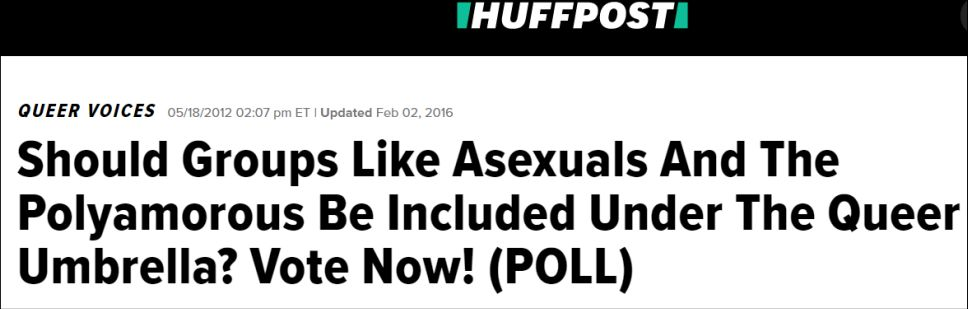 Screencap of The Huffington Post article debating whether asexuality and polyamory should be included under the queer umbrella (2012).