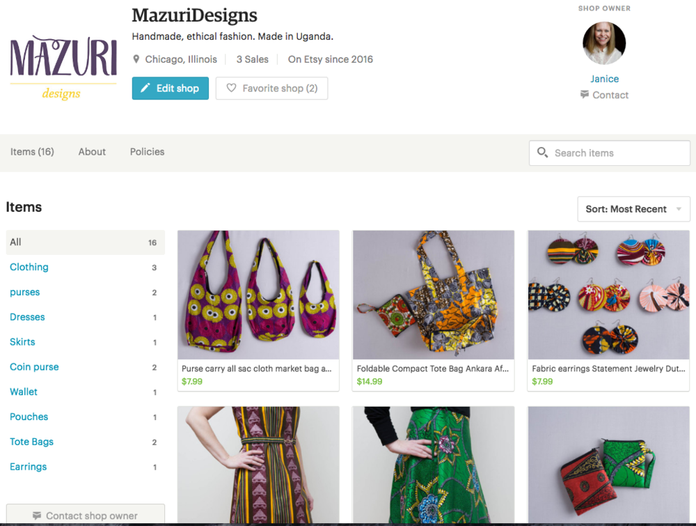 Mazuri Designs Fair Trade Clothing Etsy Store