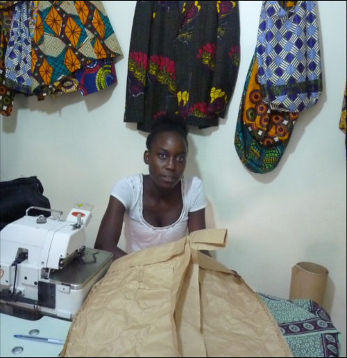 Doreen making a straight skirt with paper