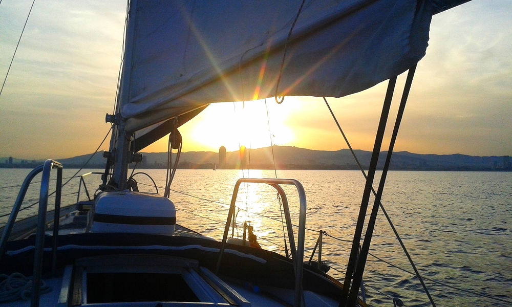 Sunset sailing along the Catalan coastline