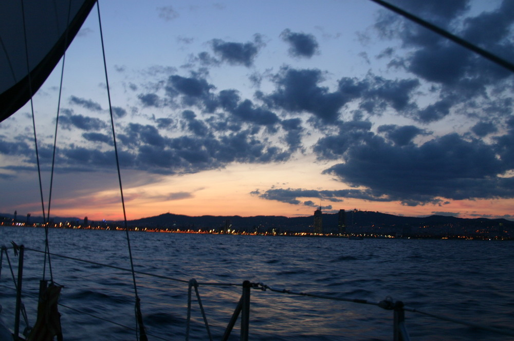 Sunset sailing in Barcelona