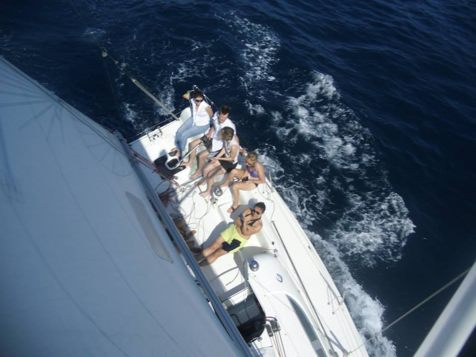 A private sailing trip taken from the mast