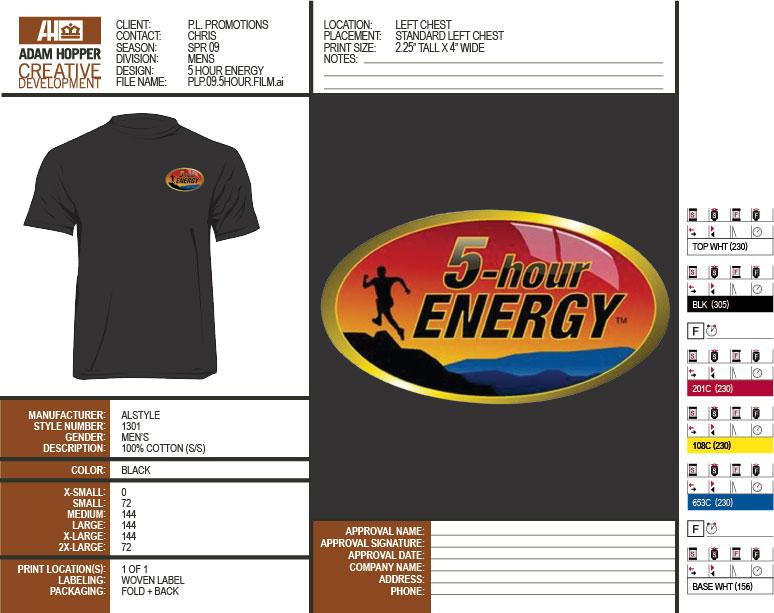 Spec Sheet | Shirt Quantities + Press Notes