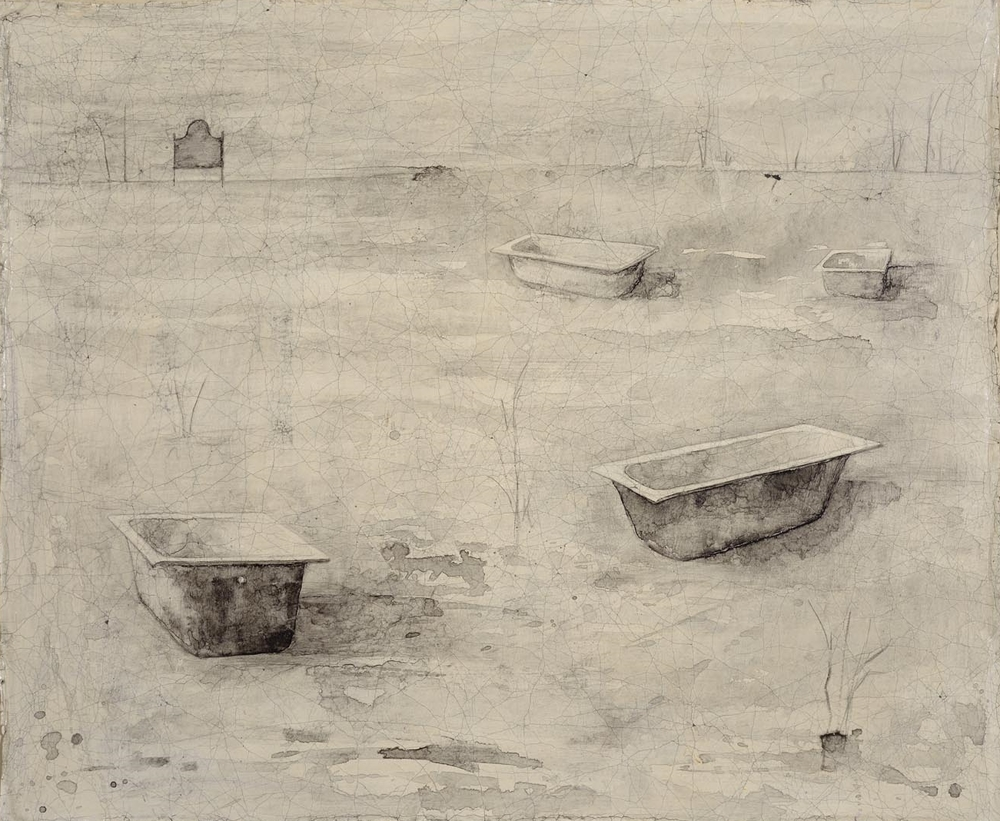 La Campagna I - sepia ink on gessoed cloth 59 x 71 cm
