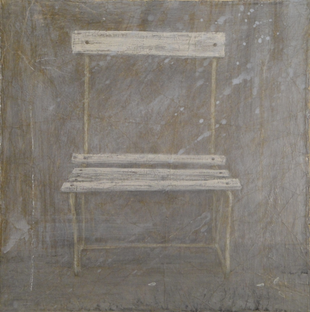 Chair II - egg tempera on gessoed cloth 51 x 51 cm