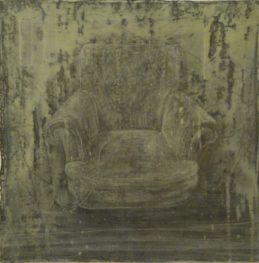 Chair I - egg tempera on gessoed cloth 51 x 51 cm