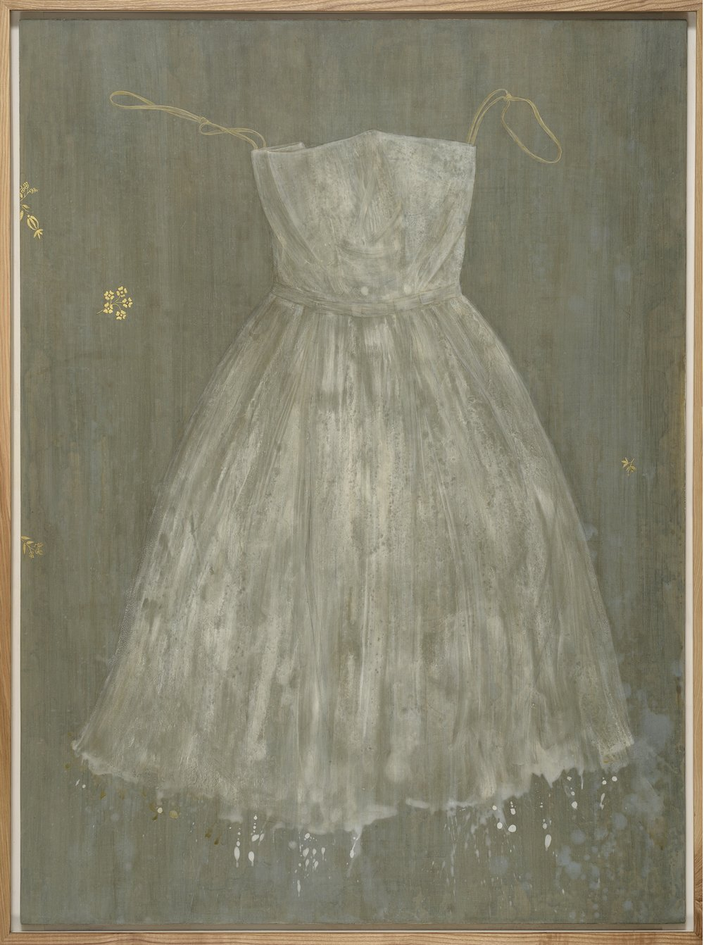 Dress I - egg tempera, gold leaf on gessoed cloth 122 x 90 cm
