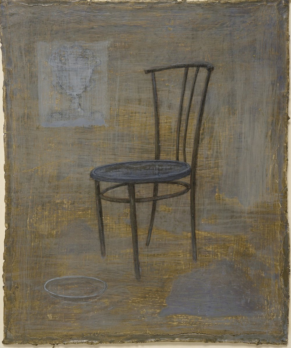 Throne III - egg tempera on gessoed cloth 33 x 27 cm