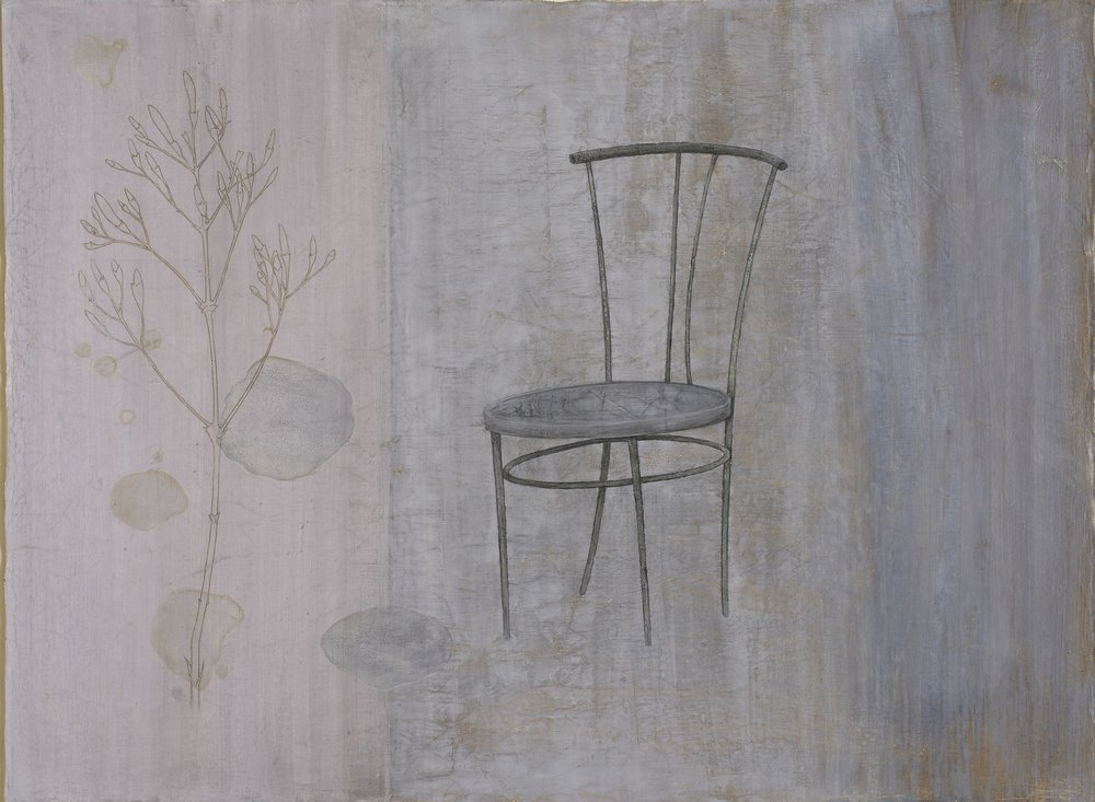 Throne II - egg tempera on gessoed cloth 68 x 92 cm