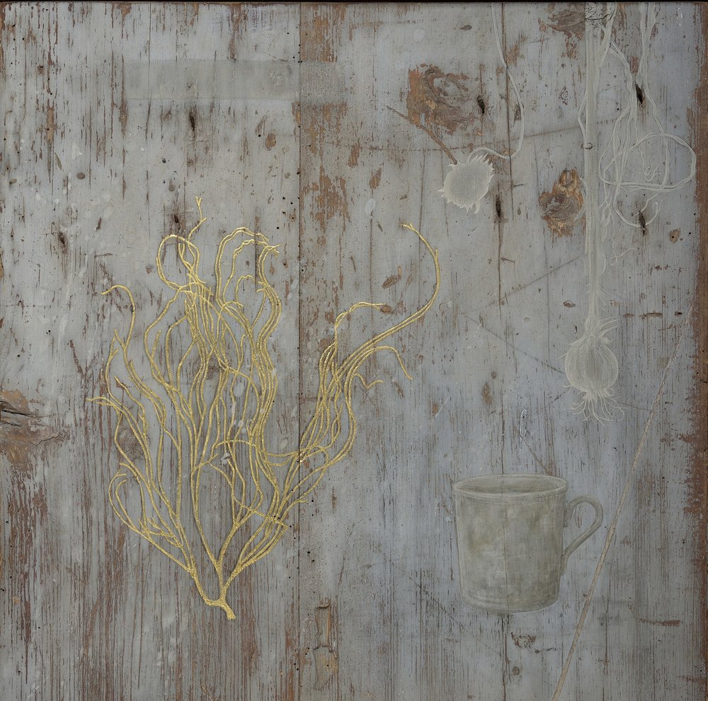 Vanitas - gold leaf, egg tempera on wooden panel 47 x 47 cm