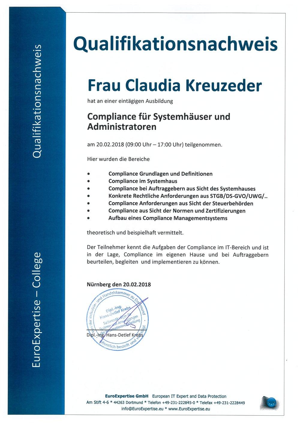 Qalifikationsnachweis Compliance für Systemhäuser