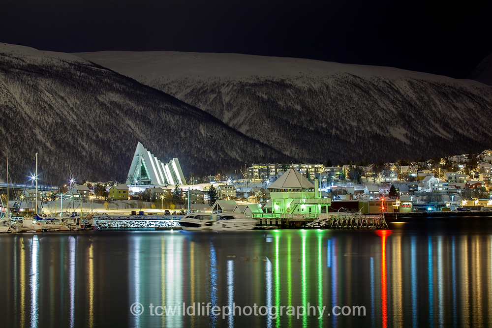 Our Orca vessel is anchored in the Tromso harbour giving us a magical experience as we wait for morning.