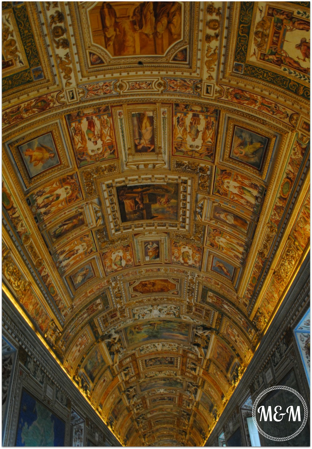 You're not allowed to take photos inside the Sistine Chapel, so here's one of the ceilings in the Vatican Museum instead!