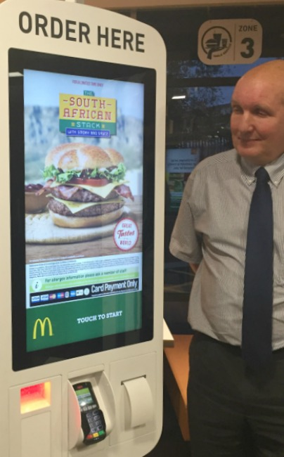 The new McDonalds self-service kiosk with Pete, the owner of McDonalds Rayleigh and several other branches in Essex.
