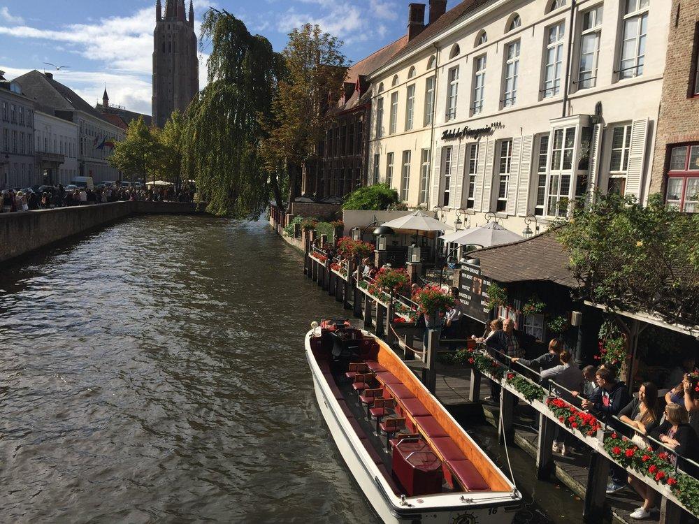 Bruges, Belgium, Canal, Flowers,