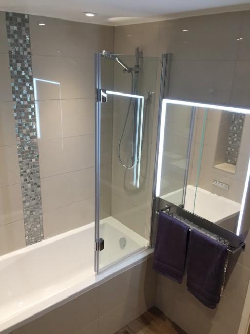 Bathroom, Bathroom Renovation, Shower, Bath, Bathroom Cabinet, Lighting, Towels, Flooring