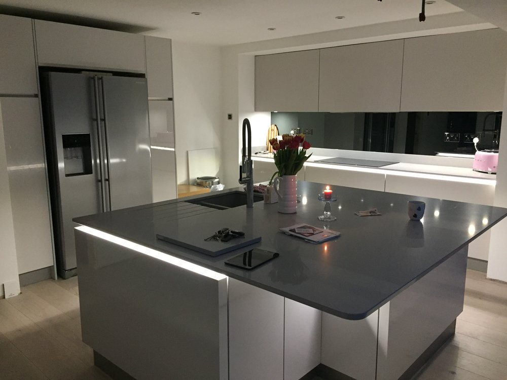 Kitchen Design, Kitchen Island, Under Cabinet Lighting, Quartz Worktops, Neff, Smeg,