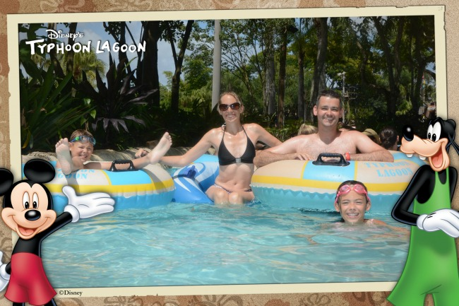Family Group Shot In Lazy River At Disney's Typhoon Lagoon Water Park Orlando Florida
