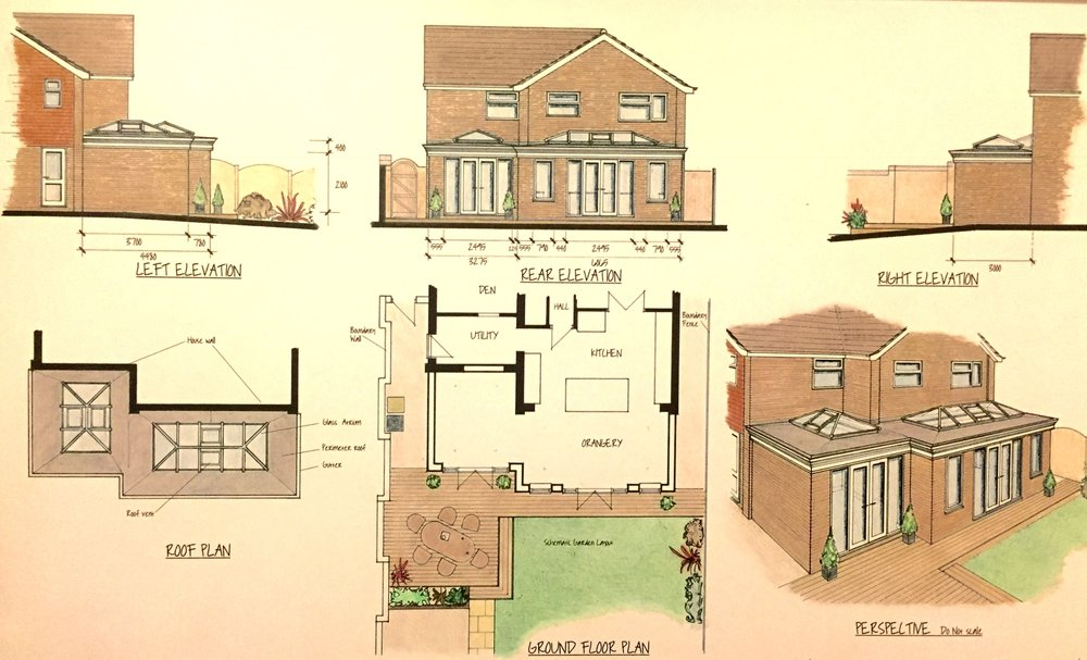 Hand drawn plans for the design and measurements of the orangery